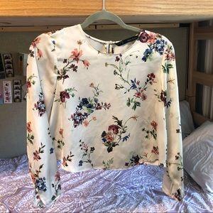 Zara Basic Creamy Floral Blouse